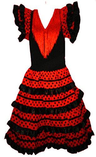 Robe flamenco sevillane pour fille, Rouge, 8