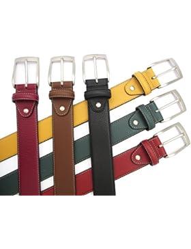 Cinturón de piel para hombre - Hecho a mano en España - Disponible en varios colores: Rojo, Granate, Mostaza,...