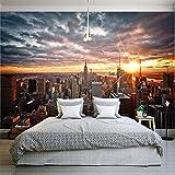 LONGYUCHEN Benutzerdefinierte 3D Seide Mur Wallpapers New York City Landschaften Kunst Fotografie Wandbild Schlafzimmer Wohnzimmer Hintergründe Wand,300Cm(H)×420Cm(W)