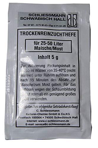 Schliessmann Trockenreinzuchthefe - 5 Gramm für 25 -50 Liter Wein & Maische - Weinhefe