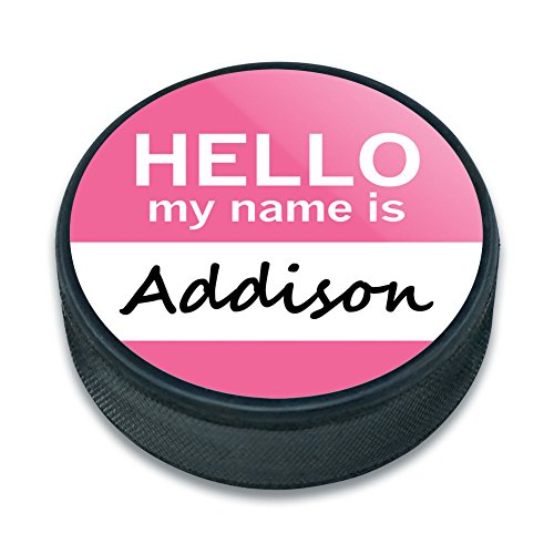 EISHOCKEY Puck Hello My Name Is aa-al, Addison Hello My Name Is (Addison-namen)