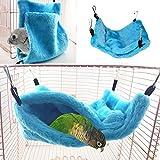 Petit écureuil hamster Chinchilla pour perroquet pour hamac de poche Oiseau Sleeping Pocket Nest avec double hamac et intercalaire - Bleu