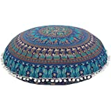 Indian Large Floor Cushion, Mandala Throw Pillow Case 32, Decorative Round Pouf Ottoman, Boho Pillow Shams, Pom Pom Outdoor Cushion Cover With Insert by Trade Star Exports