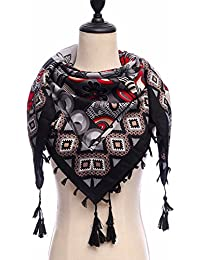 HITSAN INCORPORATION Women s Winter Scarf Printing Square Cotton Autumn  Winter Shawls Wraps Tassels Vintage Foulard Female Bandana… 33bc7561d43