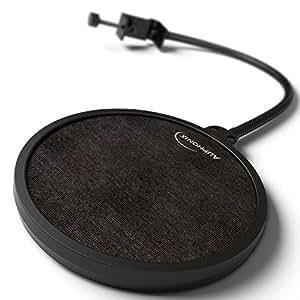 Filtre anti-pop Auphonix Blue Yeti. Pour Blue Yeti et microphones USB de bureau. L'étau plat se fixe au Blue Yeti, à une table, aux perches de micros à bords plats. Pour podcasts et voix off - Un double écran élimine les pops
