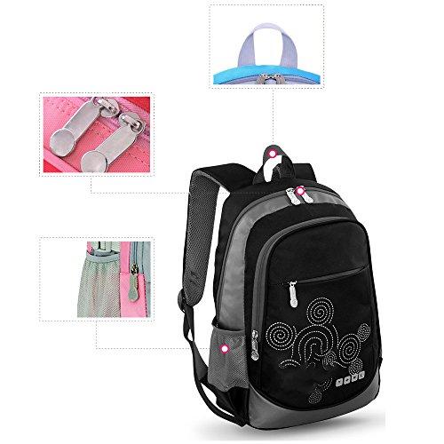 BOZEVON Wasserdichter Rucksack für Kinder Unisex Schultaschen Jungen Mädchen für Reisen, Wandern, Sport Schwarz #871