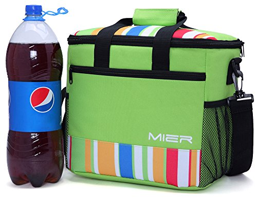 MIER 15L Large Insulated Lunch Bag Picnic Cool Bag, Green