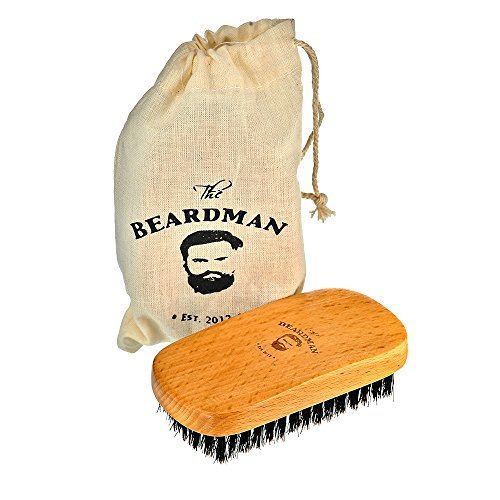 The Beardman Beard & Hair Brush, Bamboo/Beachwood with 100% Soft Boar Bristles, Comb Beards and Mustache Complete with Muslin Style Cotton Gift Bag (Soft) by The BEARDMAN