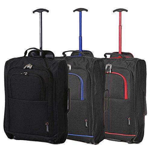 """Set of 3 21""""/55cm 5 Cities Kabine zugelassenes Handgepäck Leichte Trolley-Taschen Für Ryanair / Easyjet (Schwarz) Schwarz / Blau + Schwarz / Rot + Schwarz"""