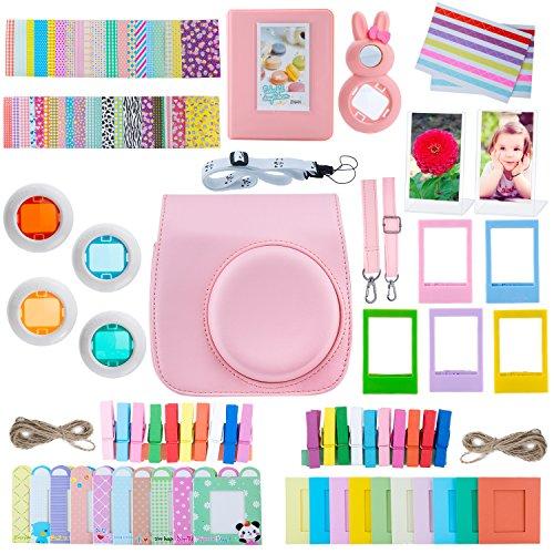 ZWOOS 13 in 1 Zubehör für Fujifilm Instax Mini 8 / Mini 9 Tasche Kamerapaket(Rosa) -