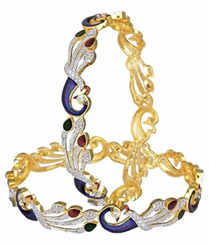 YouBella Dancing Peacock American Diamond Bangles For Women