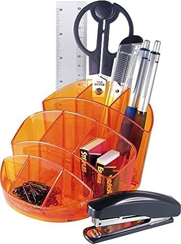 Exerz EX356 O-Life Ensemble d'Organisateur de Bureau ovale - Taille moyenne - multicouleur - rempli avec des ciseaux, agrafeuse, agrafes, stylos, règle, gomme, Trombones - Papeterie Organizer / Pot à stylo / Bureau Ranger (Orange)