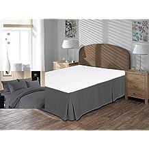 """Comodidad beddings 1pieza cubre canapé 15""""drop Longitud de 600hilos UK King Size 100% algodón egipcio sólido, Dark Gray, UK King"""