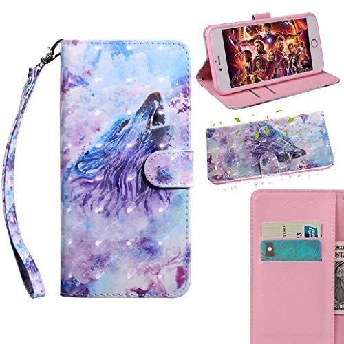 Careynoce Hülle für Samsung Galaxy Xcover 4 SM-G390,3D Effekt Painted PU Leder Brieftasche Flip Cover - mit Magnetisch Ständer Kartenfach Schutzhülle HandyHüllen für Samsung Galaxy Xcover 4 SM-G390 -
