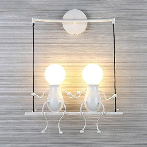 Lampada da parete moderna, stile applique, semplice design, per cameretta dei bambini, corridoio, decorativa, illuminazione, lampadina e27 x 2max.40 w bianco