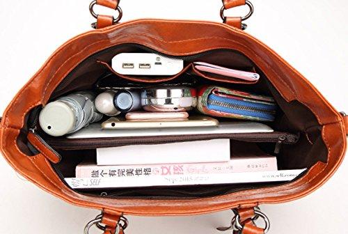 PDFGO Retro Handtaschen Damen Handtaschen Umhängetasche Messenger Bag Motorrad Tasche Big Bag Tote Bag D