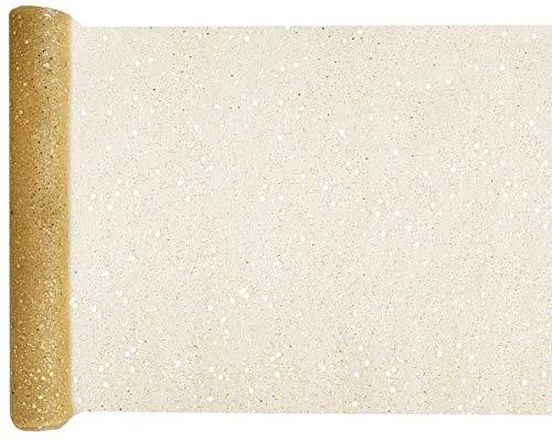 litter 30cm x 5m Gold Tüllstoff Tischdecke Hochzeit Dekostoff Deko ()