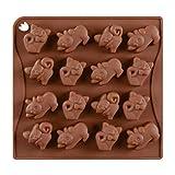 BESTONZON Stampo in Silicone per Cioccolatini Dolci Ghiaccio Forma di Gatto 16 Cavità (caffè)