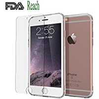 Funda iPhone 6, iPhone 6S Funda + Cristal a Prueba de Balas, GogoTool Funda para teléfono móvil Funda Protectora TPU Ultra Thin Soft, Transparente, Reach y FDA Certified