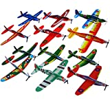 Tomkity 48 pcs Avions Polystyrène Avions en Papier Planeur 12 Motifs Surprise Petit Cadeau Voalnt Jouet pour Anniversaire Halloween Fête