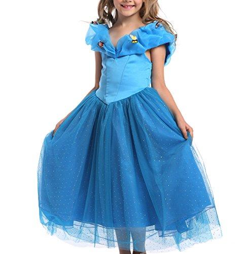 Lonchee Kleine Mädchen Eiskönigin Prinzessin Cinderella Schmetterlinge Kleid Kostüm,Cosplay Weinachten Halloween Geburtstag Karneval Verkleidung Party Kinder Fancy Kleid Schmetterling Fest Kleid (Im 2017 Hunde Halloween Kostüme)