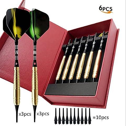 Lot de 6fléchettes à pointe souple 16grammes Professional Electronic Fléchettes souple Jeu de fléchettes avec boîte cadeau, 16g