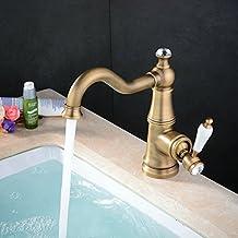 Hiendure® ottone ponte montato monocomando alta arco rubinetto lavabo bagno cucina maniglia di ceramica bianca, ottone anticato