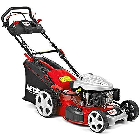 HECHT Benzin-Rasenmäher 5534 SWE Benzin-Mäher + Elektro-Start Funktion (4,4 kW (6,0 PS), Schnittbreite 51 cm, 60 Liter Fangkorbvolumen, 7-fache Schnitthöhenverstellung 25-75 mm, Radantrieb und