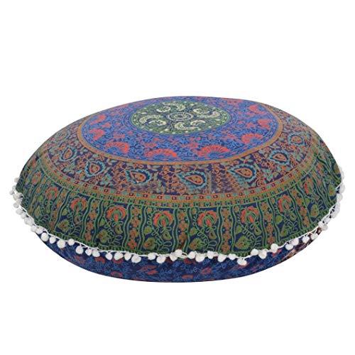 Ericcay Indische Mandala Bohemian Kissenbezüge Runde Für Home Sofa CAF Unikat Eacute Bibliothek Buchladen Partei Verein Kissen Größe 80 X80Cm (Blau) (Color : Blau B, Size : Size)