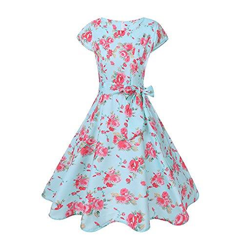 TEBAISE Damen Vintage 1950er Cap Sleeves Retro Dot Einfarbig Rockabilly Swing Kleider Frühling Sommerkleider Karneval Fasching Cocktailkleider Abendkleid Partykleid Knielang Rasta Dot