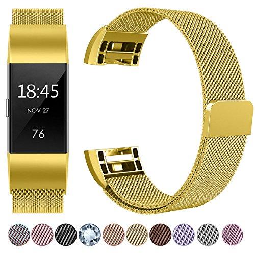HUMENN Luxus Milanese Edelstahl Handgelenk Ersatzband Smart Watch Armbänder mit Starkem Magnetverschluss für Fitbit Charge 2, Small Gold