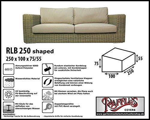 RLB250shaped Hülle für Lounge Bank, Rattan Gartensofa oder Lounge Sofa, 3 - 4 Personen, passt am...