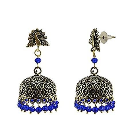 Silvestoo India Antiquated Black Metal Peacock Jhumki Earrings With Tiny Blue Crystals PG-110854