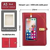 YLOVOW A5 Conference Folder 10000Mah Power Bank con Memoria USB 8G Incorporada, Bloc De Notas En Caja De Regalo26.8 * 22Cm (10.5 * 8.6Inch,Red,A