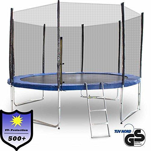 Gartentrampolin Trampolin 370 cm , inkl. Sicherheitsnetz, Leiter und Abdeckplane