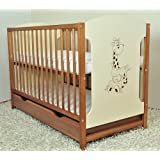 Baby cot with drawer MIKI white or walnut/cream colour (Walnut/cream)