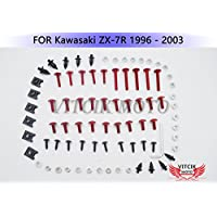 VITCIK Verkleidung Kompletter Schraubensatz für Kawasaki ZX-7R 1996 1997 1998 1999 2001 2002 2003 ZX7R 96 - 03 Motorrad Befestigungsmittel CNC-Aluminiumklammern (Rot & Silber)