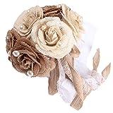 Gosear Bouquet de Novia, Boda Flores Ramo de arpillera Dama de Honor Nupcial Flor Artificial Compromiso decoración Regalo del día de San Valentín