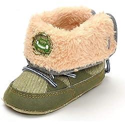 GenialES Neve Stivali Primi Passi Soffice Inverno Bambino Autunno Antiscivolo Per Bambini Da 0 a 18 Mesi 12cm,6-12meses verde