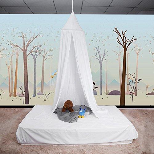 ZJchao Betthimmel, Baldachin aus Baumwolle, Dekoratives Leinwandbild, Verkleidung, Spielzelt für Baby, Fliegengitter, Gute Luftzirkulation, mit Installationswerkzeugen, 235cm weiß