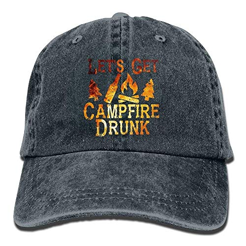 Zhgrong Caps Let's Get Campfire Drunk Vintage Washed Dyed Cotton Twill Low Profile Adjustable Baseball Cap Black cool Kappen -