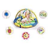 XASY Baby Spielmatte Babyspielzeug, Süßer Bär Mond Sterne Baby Kind Krabbeldecken| Spielbögen| Spielmatte| Spielteppiche Mit hängenden Klangspielzeug (Blau)