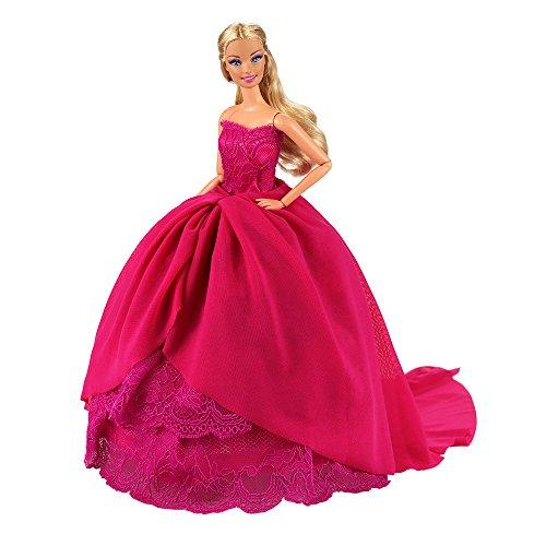 Miunana abito vestito grande di sposa matrimonio principessa signorina per 11.5 pollici 28 -30 cm bambola (borgogna)
