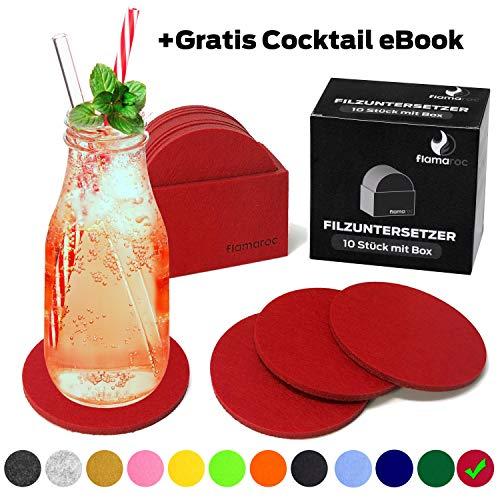 flamaroc Filzuntersetzer Rund - 10er Untersetzer Filz Premium-Set mit Box Rot, Stylishe Glasuntersetzer in Rot für Glas, Getränke, Gläser (Rot) -
