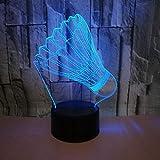 Lampe 7 Couleurs Changeantes Forme De Badminton Acrylique Led Lampe Usb Port 3D Nuit Lumière Bébé Sommeil Éclairage Pour Enfants Cadeau Jouet...