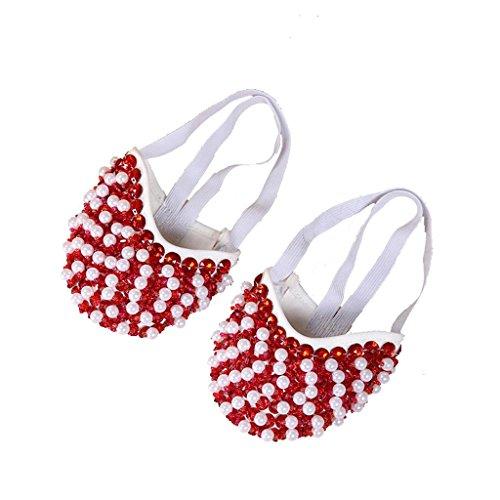 Wgwioo Bauch Ballett Tanzschuhe Kostüm Geschenk Für Big Party Weihnachten Pearl Halbe Fitness Praxis . Red . M/36~37 (Pearl Kostüme)