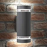 Auraglow Indoor/Outdoor Doppia Up & Down Luce da parete - Argento - Cool White LED Bulbs Included