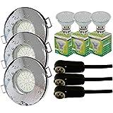 Trango - Lot de 3spots IP44pour salle de bain / douche / sauna + 3x ampoule LED type GU10 de3W - 3000K, blanc chaud, Chrom TG6729IP-038B, GU10 3.00 watts 230.00 volts