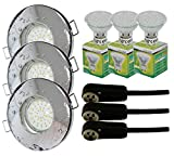 Trango - Lot de 3 spots encastrables IP44 pour salle de bain / douche / sauna + 3 x ampoule LED type GU10 de 3 W - 3000 K, blanc chaud, Chrom TG6729IP-038B, GU10 3.00 watts 230.00 volts...