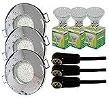 Trango - Lot de 3spots encastrables IP44pour salle de bain / douche / sauna + 3x ampoule LED type GU10 de3W - 3000K, blanc chaud, Chrom TG6729IP-038B, GU10 3.00 watts 230.00 volts...